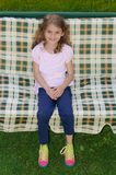 Child girl swing garden chair Stock Photos