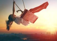 Child girl on swing Royalty Free Stock Photo