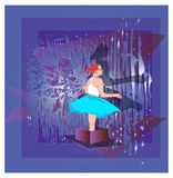 Child girl teenager vector gift box purple Stock Photo