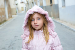 Child girl tourist walking in traditional Spain village Stock Photos