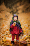 Child girl in Ukrainian folk scarf Royalty Free Stock Image