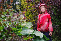 Child girl on the walk in rainy garden, wearing red raincoat Stock Photo