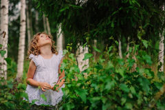 Child girl on the walk in summer forest, nature exploration with kids Royalty Free Stock Images