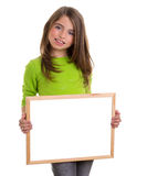 Child girl with white frame copy space white blackboard Royalty Free Stock Photography