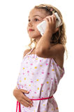 Child girl white smartphone Royalty Free Stock Photo