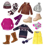 Child girl winter autumn clothes set isolated. Royalty Free Stock Photo