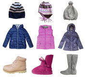 Child girl winter clothes collage set isolated on white. Stock Images