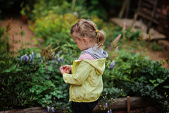 Child girl in yellow jacket playing in summer blooming garden Royalty Free Stock Images