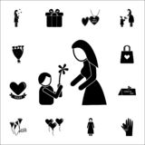child gives flowers mother icon. Mother's Day icons universal set for web and mobile vector illustration