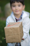 Child giving a Christmas gift Royalty Free Stock Photo