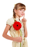 Child giving flower. Royalty Free Stock Image