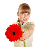 Child giving flower. Royalty Free Stock Photo
