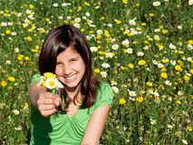Child giving gift of flowers. Child holiding out gift of bunch of flowers Royalty Free Stock Photos