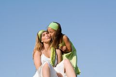 Child giving mother a kiss. Happy family, child giving mother a kiss Royalty Free Stock Photos