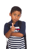 Child Giving Thumb Up to Back to School Royalty Free Stock Photography