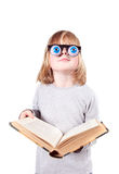 Child glasses book isolated Stock Images