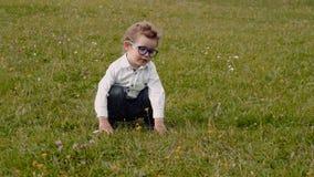 Child in glasses stock video