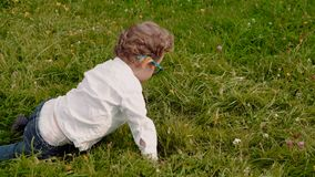 Child in glasses stock video footage