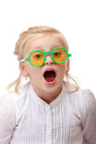 Child with glasses screams loud Stock Photography