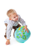 Child and globe Stock Photography