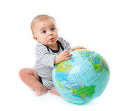 Child and globe Royalty Free Stock Photos