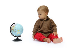 Child with a globe Stock Photo