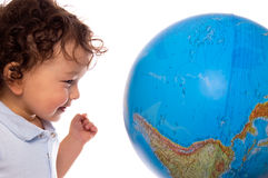 Child with globe. Royalty Free Stock Photos