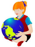Child with the globe stock photography