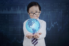 Child with globe and social network icon Royalty Free Stock Images