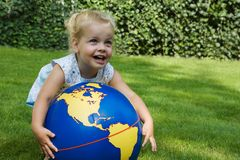 Child-globe1 Fotos de Stock Royalty Free