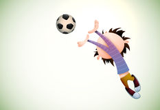 Child Goalkeeper Faults Toward the Football Royalty Free Stock Photos