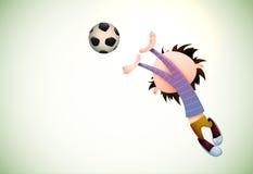 Child Goalkeeper Faults Toward the Football royalty free stock photos