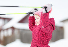 Child goes skiing Royalty Free Stock Photography
