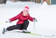 Child goes skiing Stock Photo