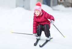 Child goes skiing Royalty Free Stock Images