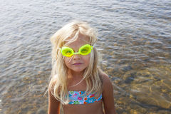 Child with goggles stock image
