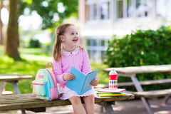 Child going back to school, year start. Child going back to school. Start of new school year after summer vacation. Little girl with backpack and books on first Royalty Free Stock Image