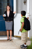 Child Going to School and Saying Goodbye