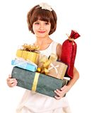 Child with gold gift box on birthday. Royalty Free Stock Photos