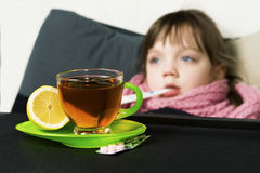 The child got sick, fever, cough, runny nose Stock Photos