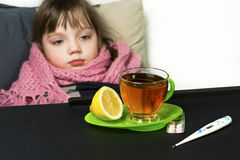 The child got sick, fever, cough, runny nose Royalty Free Stock Photo