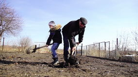 Child and grandfather digging shovel earth on a stock video