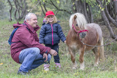 Child, grandfather and pony. Grandfather and grandchild caressing a pony at the farm Royalty Free Stock Photos