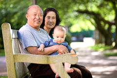 Child and grandparents in a park Royalty Free Stock Photo