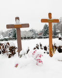 Child grave in the snow Stock Photos