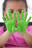 Child With Green Fingers Stock Photos