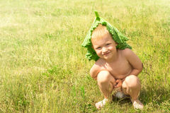 Child on green grass Royalty Free Stock Photo