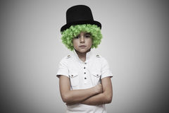 Child with green wig Stock Images