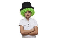 Child with green wig Royalty Free Stock Photos