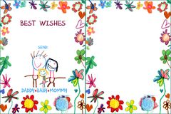 Child greeting family card with flowers Royalty Free Stock Photography
